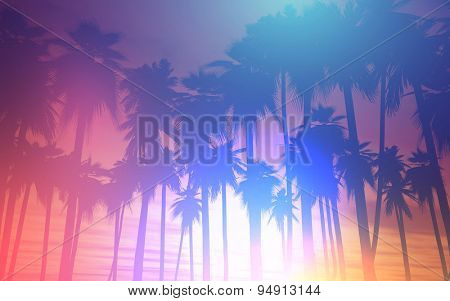 3D landscape of palm trees against a sunset sky with retro effect