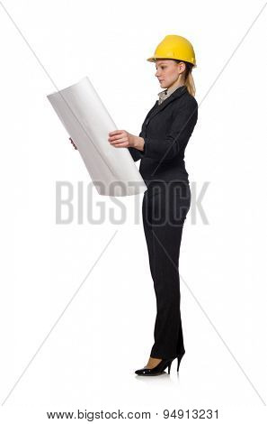 Woman  engineer with draft papers