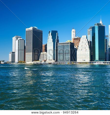 Lower Manhattan skyline view from Brooklyn in New York City