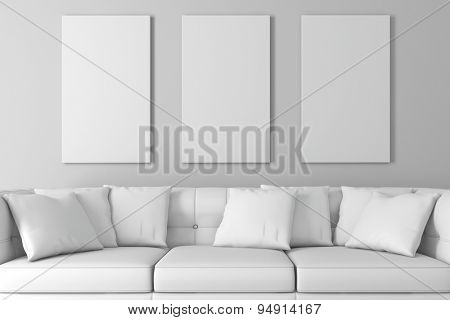 3d interior setup with couch and blank poster