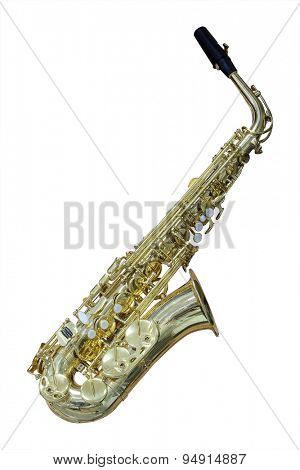 The image of a saxophone isolated under a white background