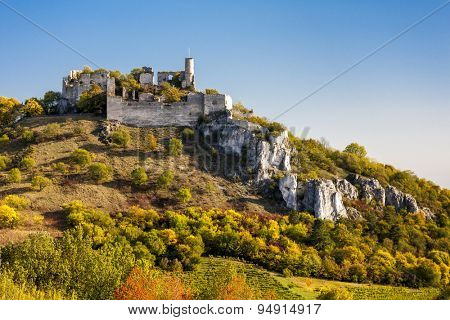 ruins of Falkenstein Castle in autumn, Lower Austria, Austria