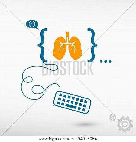 Lung Icon And Flat Design Elements