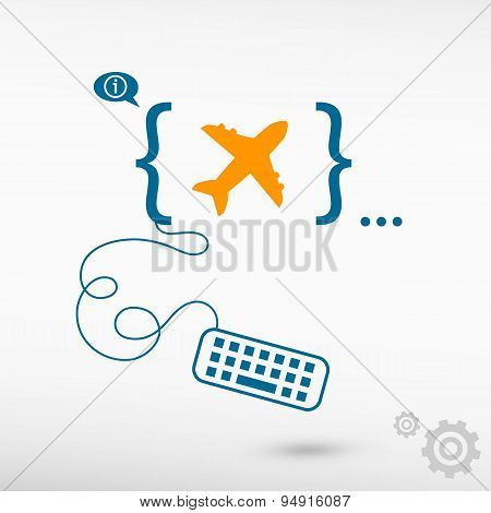 Airplane And Flat Design Elements