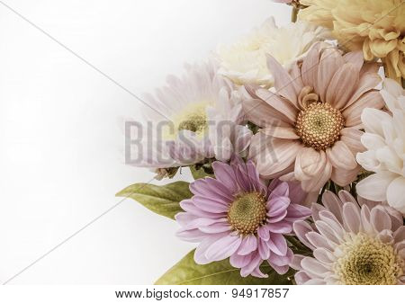 Colorful Flower Bouquet Arrangement In Vase Isolated On White Ba