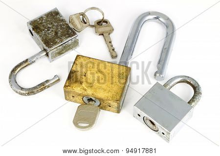 hand man un lock the key on white background