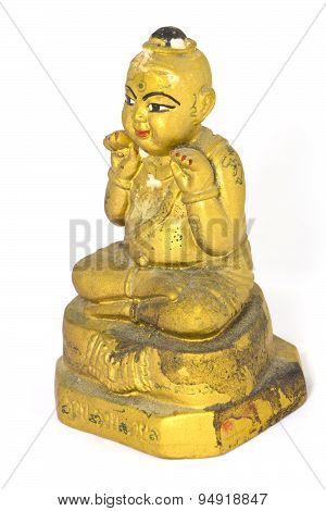 Kids Luckystatue Belief in Thailand ,with Ancient calligraphy That means good luck