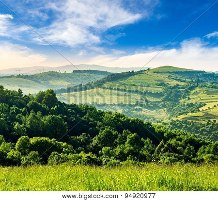 Agricultural Fields In Mountains At Sunrise