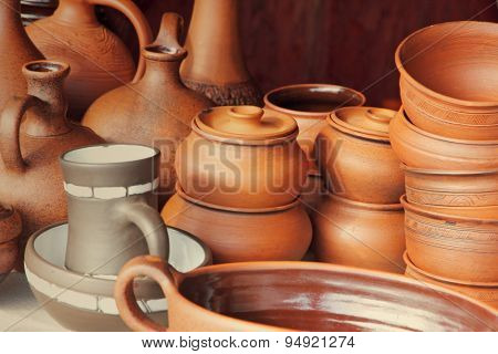Different Kinds Of Ceramics Pots.