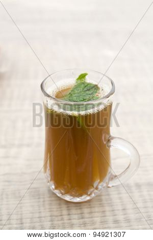 Genuine Berber Tea With Sugar And Mint Leaves. Mahdia, Tunisiya, Africa.