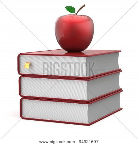 Books Textbook Stack Apple Blank Red Bookmark School Icon