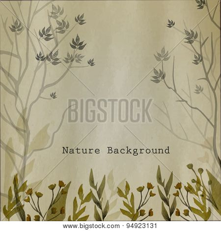 Vector Watercolor Natural Background With Leaves, Grass, Flowers And Trees On Craft Paper Background