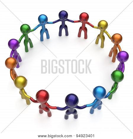 Social Network Stylized People Teamwork Men Together Circle