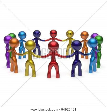 Teamwork Stylized Men Together Circle Chain Social Network