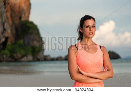 Female Athlete Portrait At The Beach