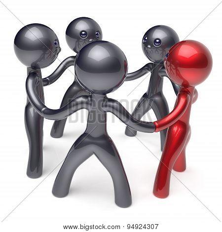 Leadership Man Teamwork Circle People Social Network Icon