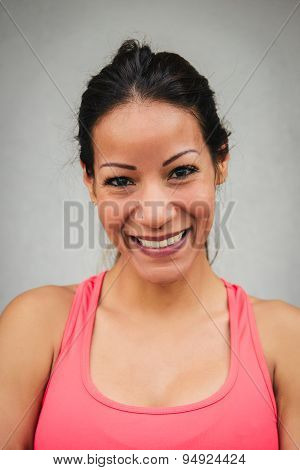 Happy Fitness Woman Face Portrait