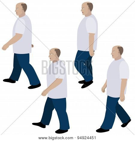 Set Of Position A Person Walking