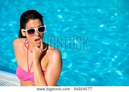 Surprised Woman On Summer Vacation At Swimming Pool