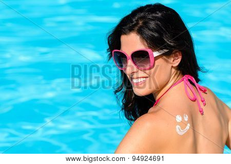 Woman Sunbathing And Enjoying Summer With Sunscreen