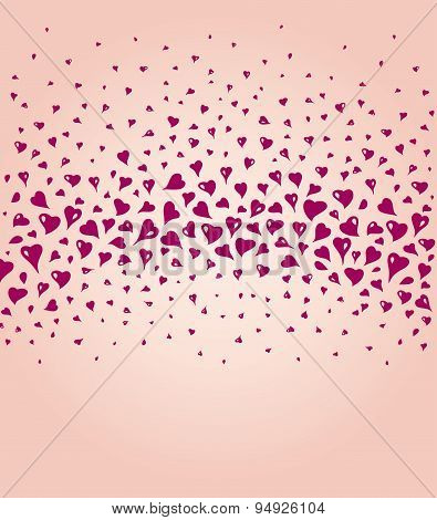Lovely ecru fashionable background with red hearts