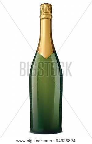 Champagne Bottle With Gold Foil Isolated On White. Vector Illustration