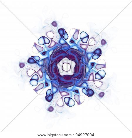 Computer Generated Blue Fractal Illustrating On The White Background