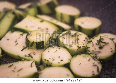 Frying Courgettes Vegetables Herbs Saucepan