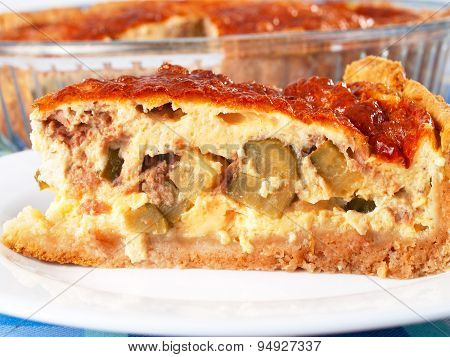 Quiche With Meat And Cucumbers