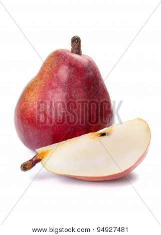 Red Pear And Slice On White