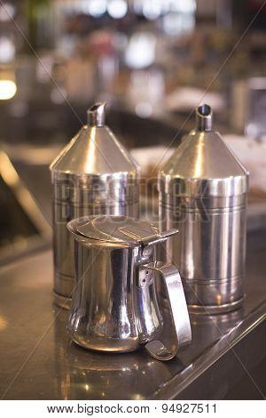 Coffee Sugar Milk Dispensers In Cafe Bar