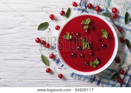 Hungarian Cold Cherry Soup On The Table. Horizontal Top View