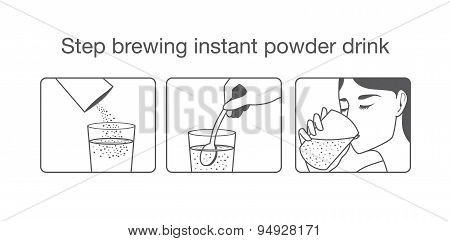 Step to brewing instant powder drink