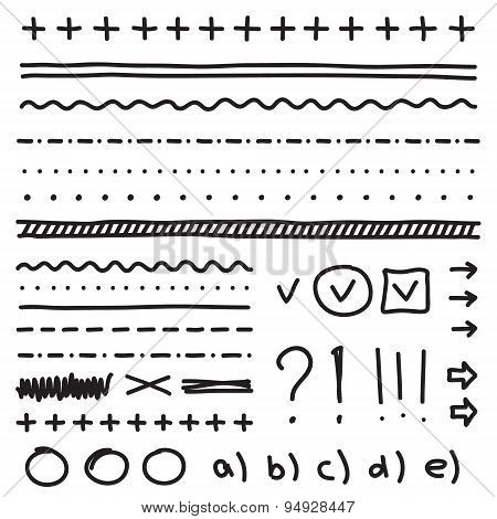 Set of hand drawing elements for edit and select text.