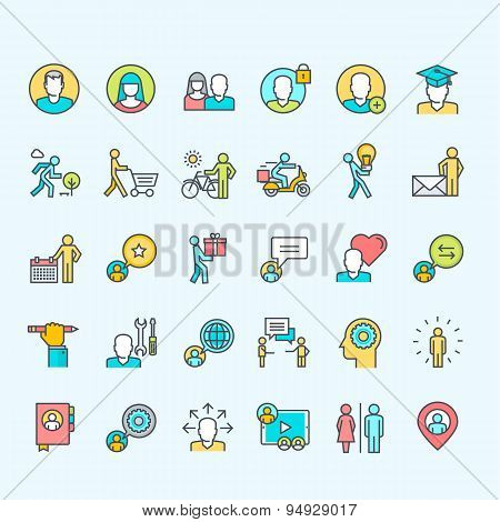Set of thin line color people icons