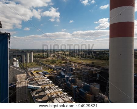 High Concrete Chimney At A Power Plant