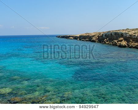Turquoise Blue Water Of The Mediterranean Sea In Cyprus