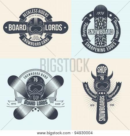 Snowboard logo emblems