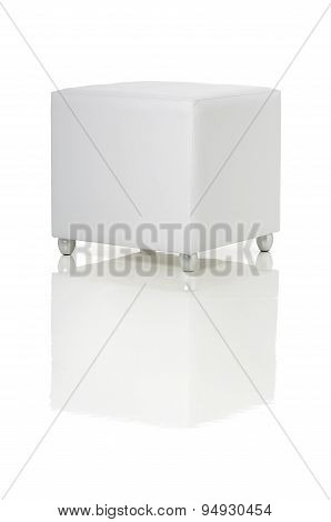white pouf leather on the whitebackground