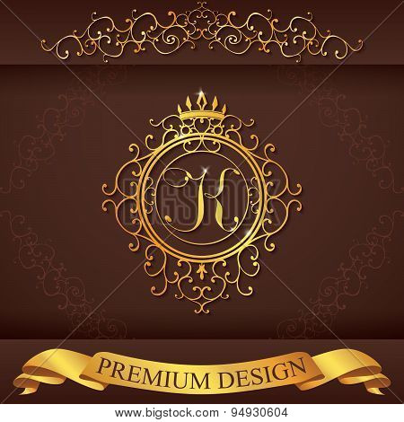 Letter K. Luxury Logo Template Flourishes Calligraphic Elegant Ornament Lines. Business Sign, Identi
