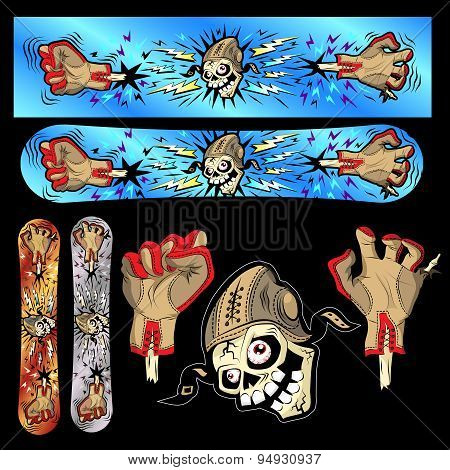 Skeleton snowboard design