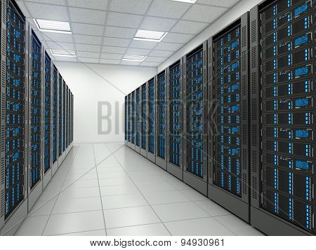 Server Room In Datacenter.