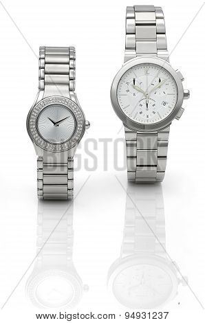 wristwatch on the white background