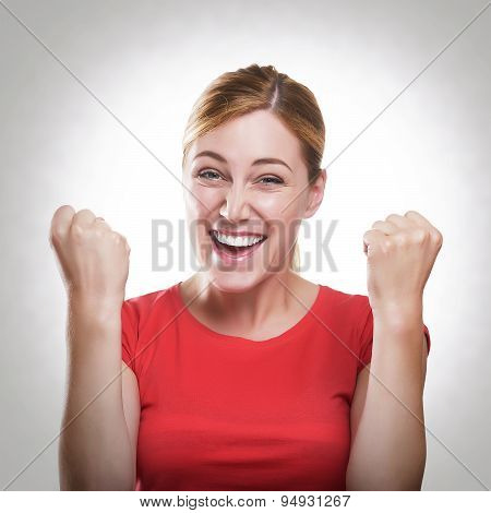 Blonde Woman Celebrating Success