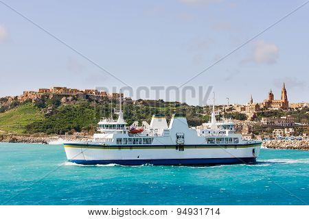 Port Of Mgarr On The Small Island Of Gozo. Ferry Goes From Mgarr Port To Malta.
