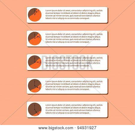 Original number list in orange shades, vector illustration