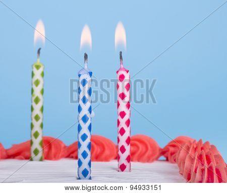 Closeup Of Birthday Candles