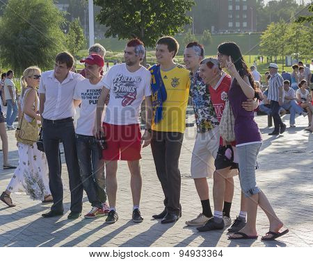 Donetsk, Ukraine - June 11, 2012: Fans From Different Countries Together Are Photographed Before The