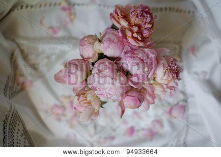 Bunch Of Peony Flowers In An Enamel Vase