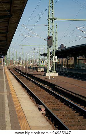 On The Platform Of Weimar Railway Station, Germany